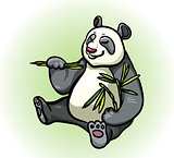 Panda and bamboo leaves