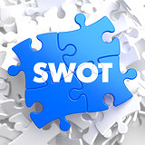 SWOT on Blue Puzzle Pieces. Business Concept.