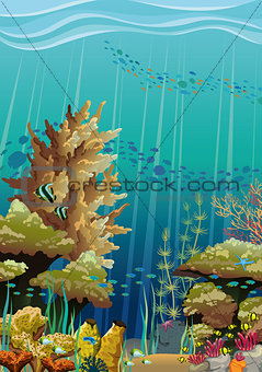 Seascape with coral reef