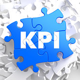 KPI on Blue Puzzle Pieces. Business Concept.