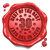 Top 30 in Charts - Stamp on Red Wax Seal.