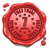 Free Trial 7 Days- Stamp on Red Wax Seal.