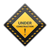 Black under construction sign
