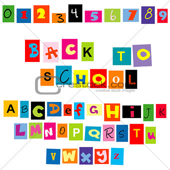 Back to school background with colored tellers and numbers