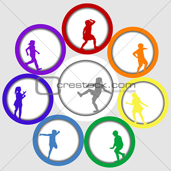 Circle frames with children