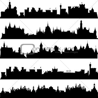 Cities and castles silhouettes