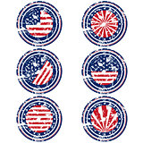 Rubber stamps with USA flag