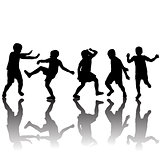 set of children silhouettes dancing