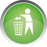 Recycling Sign Button Icon