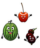 Watermelon, currant and cherry cartoon fruits