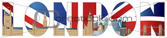 Palace of Westminster and London City Skyline Text Outline