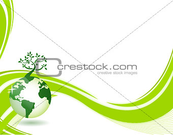 Green nature background. Eco concept illustration. Abstract gree