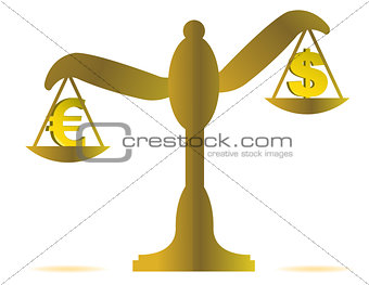 3d illustration of euro and dollar on balance over a white backg