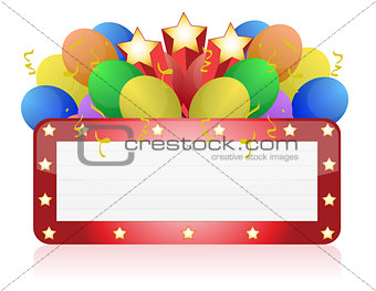 billboard with balloons and confetti. Ready for celebrating and