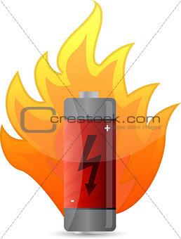 battery on fire illustration design over white