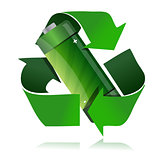 battery recycling symbol illustration design over a white backgr