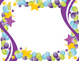 celebration balloon frame with stars isolated over a white backg