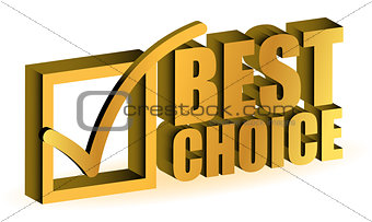 best choice golden illustration sign isolated over white