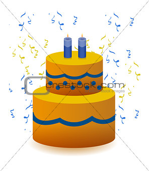 Colorful Birthday cake illustration design isolated over a white
