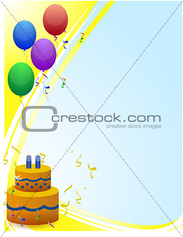 Happy birthday card with balloons rays of light and birthday cak