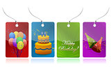 colorful birthday tags illustration design