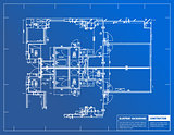 Sample of architectural blueprints over a blue background / Blue