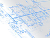 Sample of architectural blueprints over a light gray background