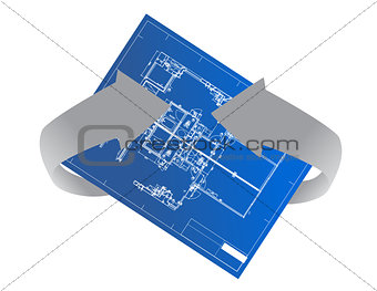 architectural background rotating illustration design on white
