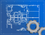 detailed blueprint and gear illustration design