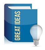 Great ideas book and lightbulb illustration design over white