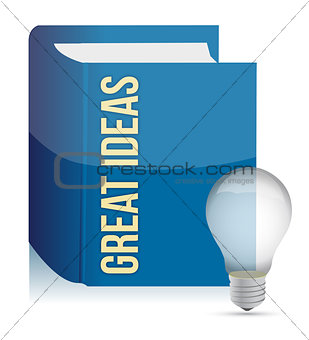 Great ideas book and lightbulb illustration design over white