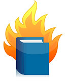 Open book with flame illustration design