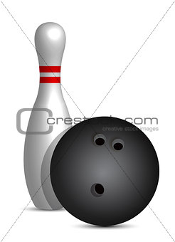 bowling ball and pin illustration