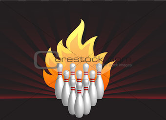 bowling pins on fire illustration