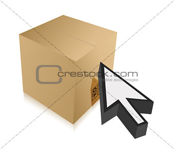 box and cursor illustration design over white