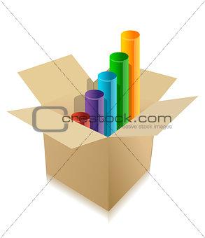 business graph inside cardboard box illustration