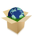 Globe in a shipping box with grass