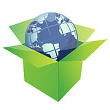 globe illustration design inside a green box isolated over a whi