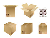 different Cardboard boxes with icons isolated over a white backg