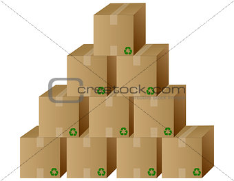 A pile of closed recycled boxes. Vector file also available.