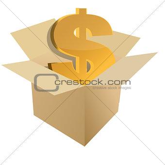 Cardboard box with dollar sign inside illustration design