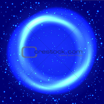 Blue bokeh abstract frame. Background with particles for your business presentations.