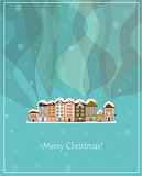 winter smoking snow-covered country houses christmas card