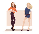 Vector illustration of two fashion girls