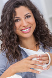 Hispanic Woman Smiling Drinking Tea or Coffee Happy Beautiful