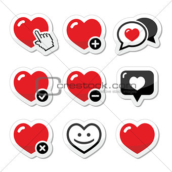 Heart, love vector icons set