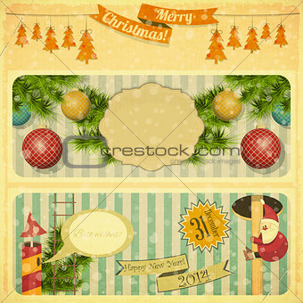 Vintage Merry Christmas and New Years Card