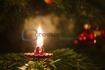 Candle on christmas tree