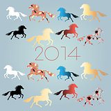 New Year's background with horses