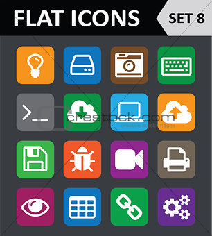 Universal Colorful Flat Icons. Set 8.